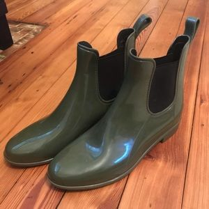 J Crew olive green ankle rain boots
